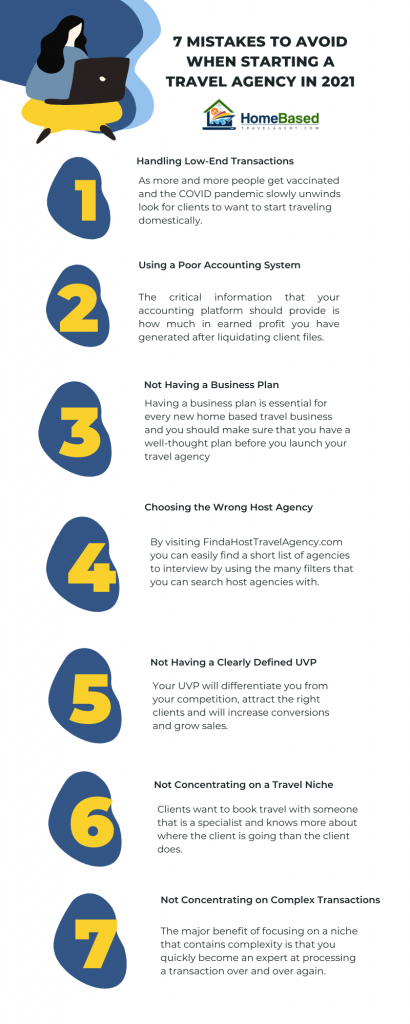 7 Mistakes to Avoid as a Home Based Travel Professional Infographic